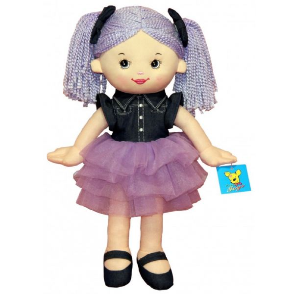 Denim and Lilac Soft Bodied Rag Doll